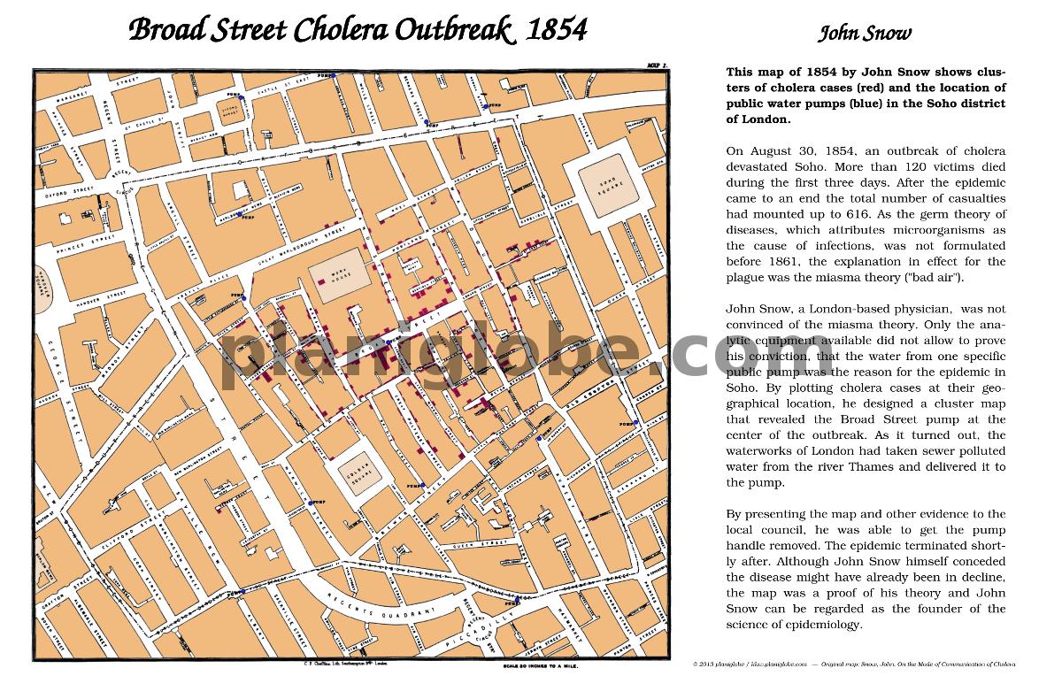 Karte London Stadtteile.John Snow Cholera Karte Planiglobe